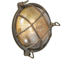 Wall and ceiling light brown IP44 Nautica round