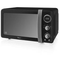 Swan SM22030BN Retro Style Microwave Oven in Black 20 Litre 800W