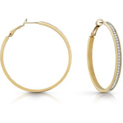 GUESS gold plated 50mm front Swarovski® crystal pavè hoop earrings.