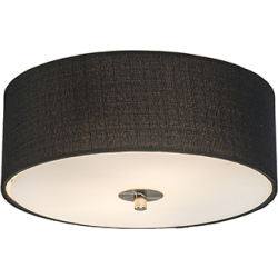 Country ceiling lamp black 30 cm Drum Jute