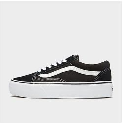 Vans Women's Old Skool Platform Trainers Black White UK 7