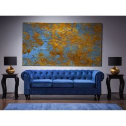 Classic Chesterfield Sofa Button Tufted 3 Seater Velvet Polyester Blue Chesterfield