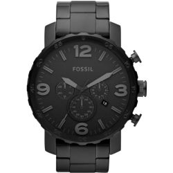 Fossil Women Nate Chronograph Black Stainless Steel Watch One size