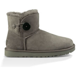 UGG Women's Mini Bailey Button II Boot in Grey Size 9 Shearling