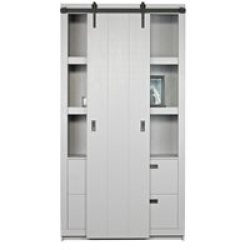 Barn Cabinet with Sliding Door in Concrete Grey by Woood