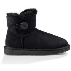 UGG Women's Mini Bailey Button II Boot in Black Size 4 Shearling