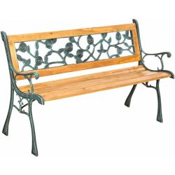 Garden bench Marina made of wood and cast iron wooden bench wooden garden bench outdoor bench brown