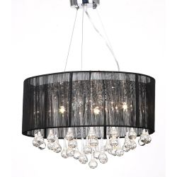vidaXL Chandelier with 85 Crystals Black