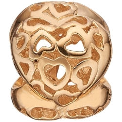 Ladies Christina Gold Plated Sterling Silver Heart Beat Bead Charm 623 G10