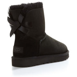 UGG Women's Mini Bailey Bow II Boot in Black Size 6 Shearling