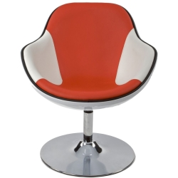 Amblar Faux Leather Chair White and Red