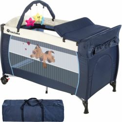 Tectake Travel cot dog with changing mat and play bar cot bed baby travel cot pop up travel cot blue