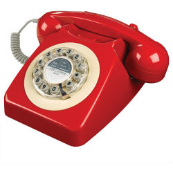 WILD WOLF 746 Corded Phone Phone Box Red Red