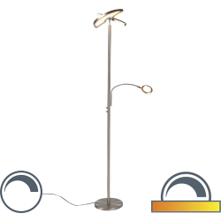 Modern Floor Lamp Uplighter with Adjustable Reading Arm Steel incl. LED Moderno II